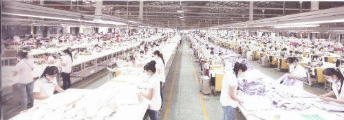 Sewing production site among the PANKO's mammoth vertical systems of the editing, dyeing, and sewing factory established in 2002 in Binh Duong Province,Ho Chi Minh, Vietnam in 2002